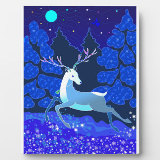 Magic Cute Christmas Deer with bell Plaque