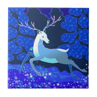 Magic Cute Christmas Deer with bell Small Square Tile