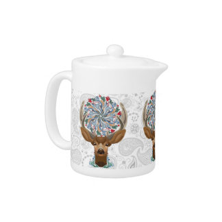 Magic Cute Forest Deer with flourish spring symbol