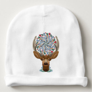 Magic Cute Forest Deer with flourish spring symbol Baby Beanie