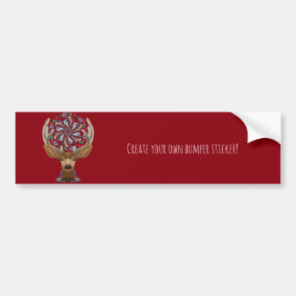 Magic Cute Forest Deer with flourish spring symbol Bumper Sticker