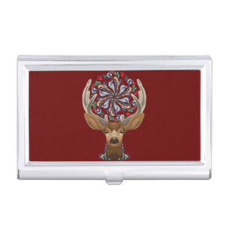 Magic Cute Forest Deer with flourish spring symbol Business Card Holder