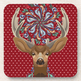 Magic Cute Forest Deer with flourish spring symbol Coaster