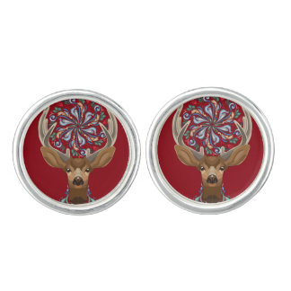 Magic Cute Forest Deer with flourish spring symbol Cuff Links