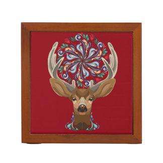Magic Cute Forest Deer with flourish spring symbol Desk Organiser