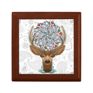 Magic Cute Forest Deer with flourish spring symbol Gift Box