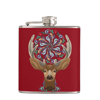 Magic Cute Forest Deer with flourish spring symbol Hip Flask