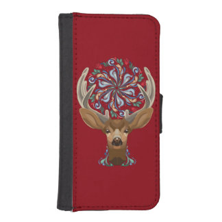 Magic Cute Forest Deer with flourish spring symbol iPhone SE/5/5s Wallet Case
