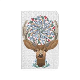Magic Cute Forest Deer with flourish spring symbol Journal
