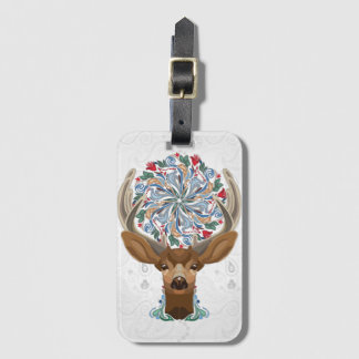 Magic Cute Forest Deer with flourish spring symbol Luggage Tag