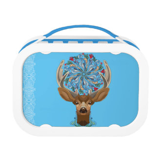Magic Cute Forest Deer with flourish spring symbol Lunchbox