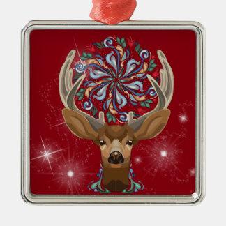 Magic Cute Forest Deer with flourish spring symbol Metal Ornament