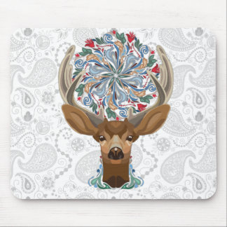 Magic Cute Forest Deer with flourish spring symbol Mouse Pad