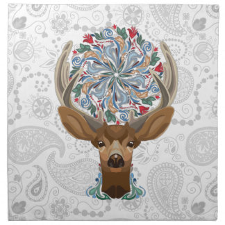 Magic Cute Forest Deer with flourish spring symbol Napkin