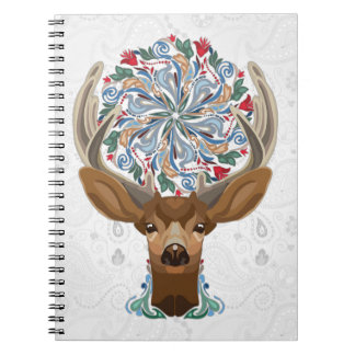 Magic Cute Forest Deer with flourish spring symbol Notebook