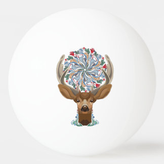 Magic Cute Forest Deer with flourish spring symbol Ping Pong Ball