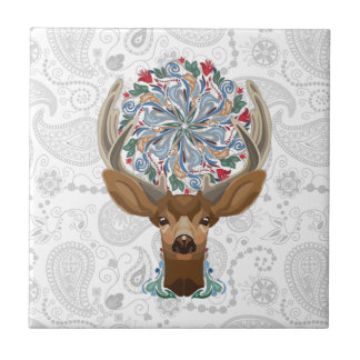 Magic Cute Forest Deer with flourish spring symbol Small Square Tile