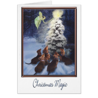 Magic Dachshund Christmas Card