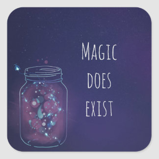Magic Does Exist FireFly Jar Square Sticker