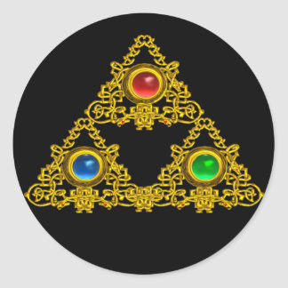 MAGIC ELFIC TALISMAN /GOLD TRIANGLE WITH GEMSTONES CLASSIC ROUND STICKER