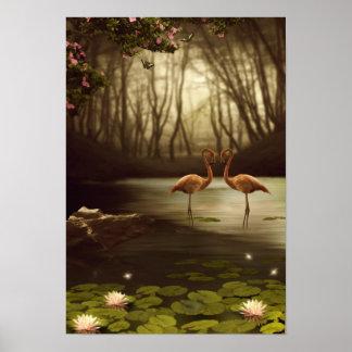 Magic Flamingos Poster