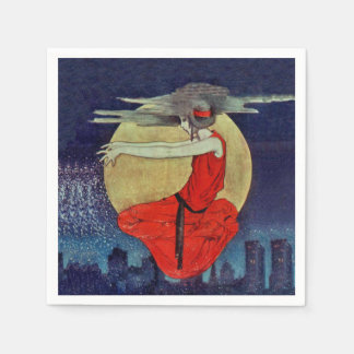 Magic Floating Woman Moon Night Sky Witch Paper Napkins