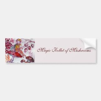MAGIC FOLLET OF MUSHROOMS Red White Floral Fantasy Bumper Sticker