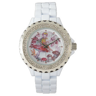 MAGIC FOLLET OF MUSHROOMS Red White Floral Fantasy Wrist Watches