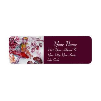 MAGIC FOLLET OF MUSHROOMS Red White Purple Fantasy Return Address Label