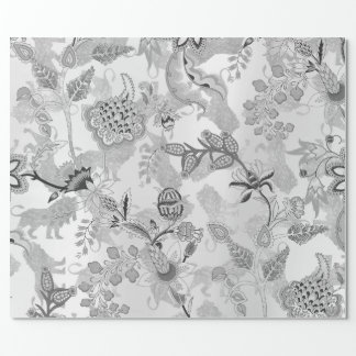 Magic Garden Lions Floral Silver Gray Lux Oriental Wrapping Paper
