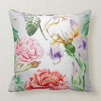 Magic Garden Roses Silver Gray White Iris Throw Pillow