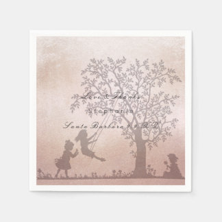 Magic Garden Tree Children Pink Rose Gold Name Paper Serviettes