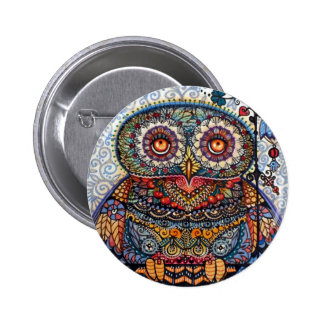 Magic graphic owl painting 6 cm round badge
