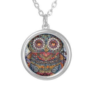 Magic graphic owl painting round pendant necklace