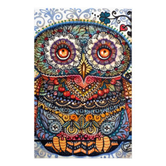 Magic graphic owl painting personalized stationery