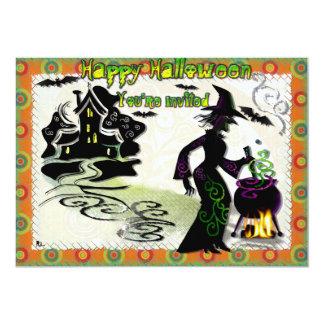 Magic Halloween Witch 13 Cm X 18 Cm Invitation Card