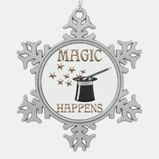Magic Happens Snowflake Pewter Christmas Ornament