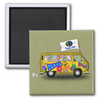 Magic Hippie Van Square Magnet