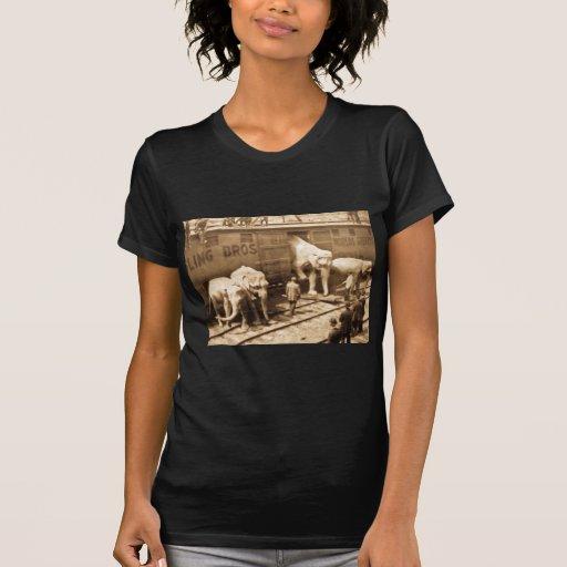 Magic Lantern Slide Ringling Bros Elephant Train Shirt