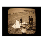Magic Lantern Slide  Seaside at Dieppe France Postcard