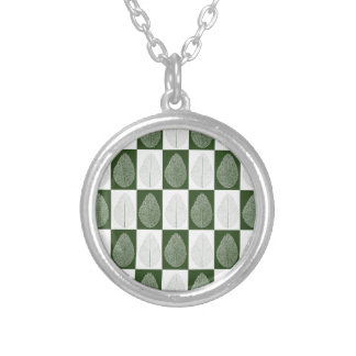 Magic Leaf on Green Silver Plated Necklace