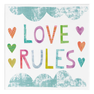 Magic Love Rules with Hearts Acrylic Print