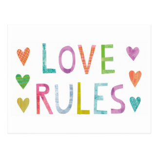 Magic Love Rules with Hearts Postcard