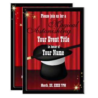 Magic Magician Party Event Custom Invitation