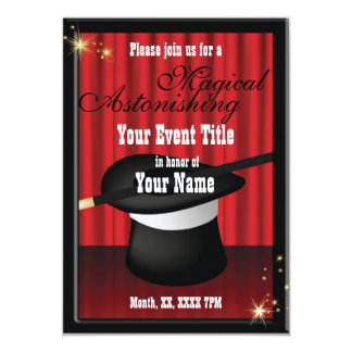 Magic Magician Party Event Custom Invitation