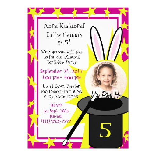Magic Me Birthday Pink Personalized Invite