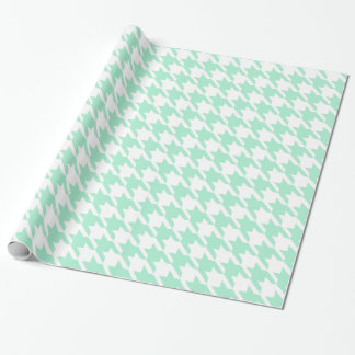 Magic Mint and White Houndstooth Pattetrn Wrapping Paper