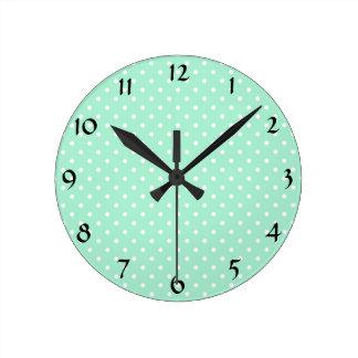 Magic Mint and White Polka Dot Pattern Round Clock