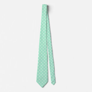 Magic Mint and White Polka Dot Pattern Tie