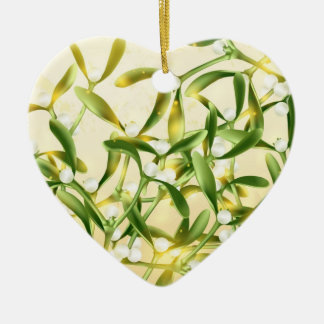 Magic Mistletoe Ceramic Heart Ornament